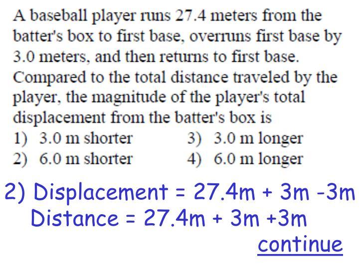 Displacement = 27.4m + 3m -3m