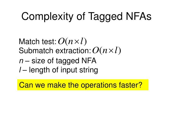 Complexity of Tagged NFAs