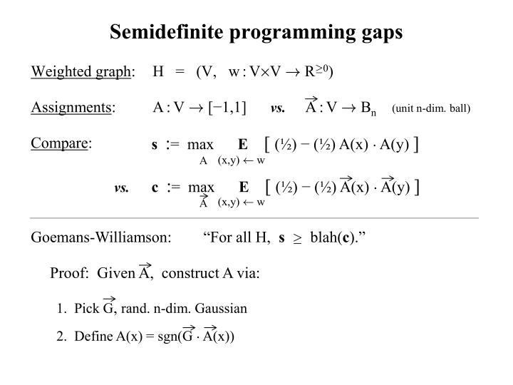 Semidefinite programming gaps