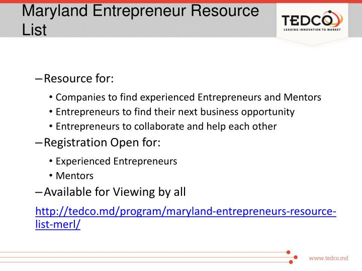 Maryland Entrepreneur Resource List