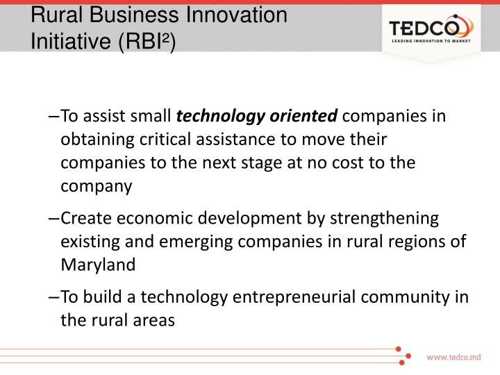 Rural Business Innovation Initiative (RBI²)