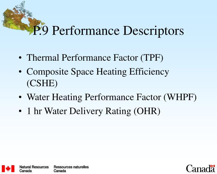 P.9 Performance Descriptors