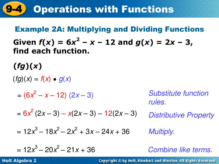 Example 2A: Multiplying and Dividing Functions