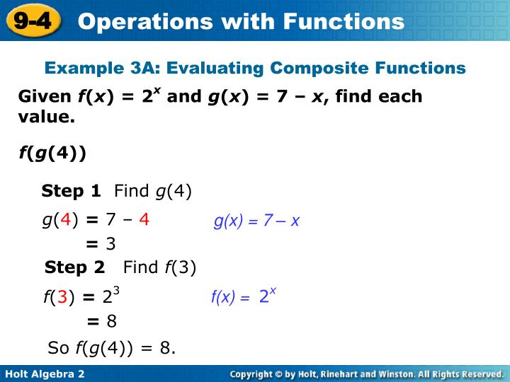 Example 3A: Evaluating Composite Functions