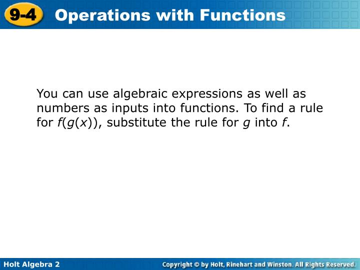 You can use algebraic expressions as well as numbers as inputs into functions. To find a rule for