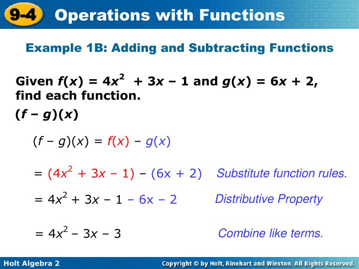 Example 1B: Adding and Subtracting Functions