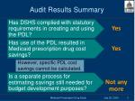 audit results summary