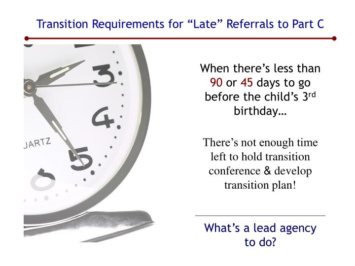 "Transition Requirements for ""Late"" Referrals to Part C"