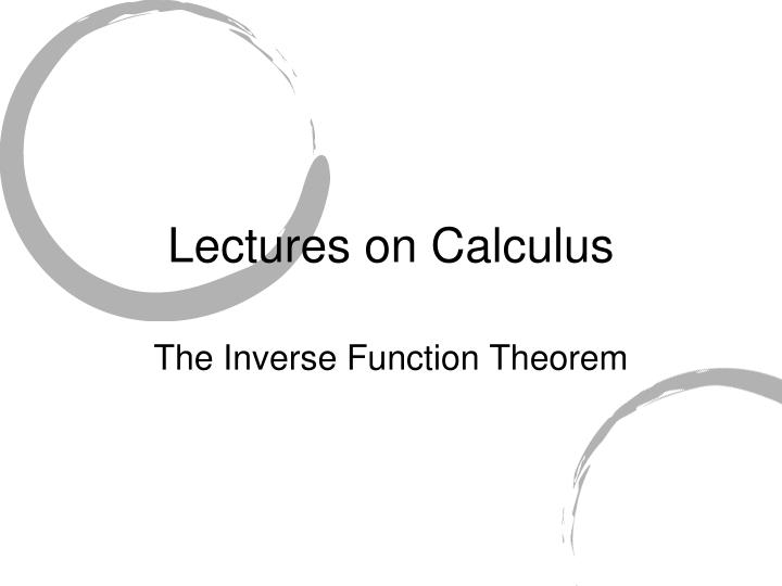 Lectures on calculus