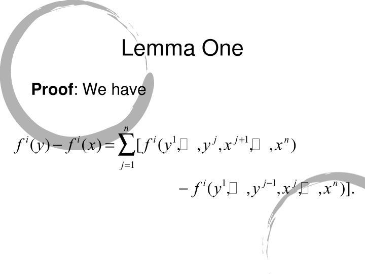 Lemma One