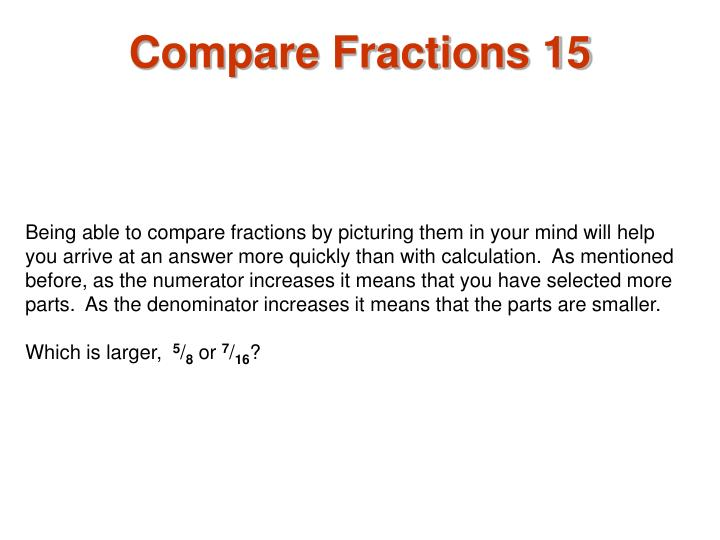 Compare Fractions 15