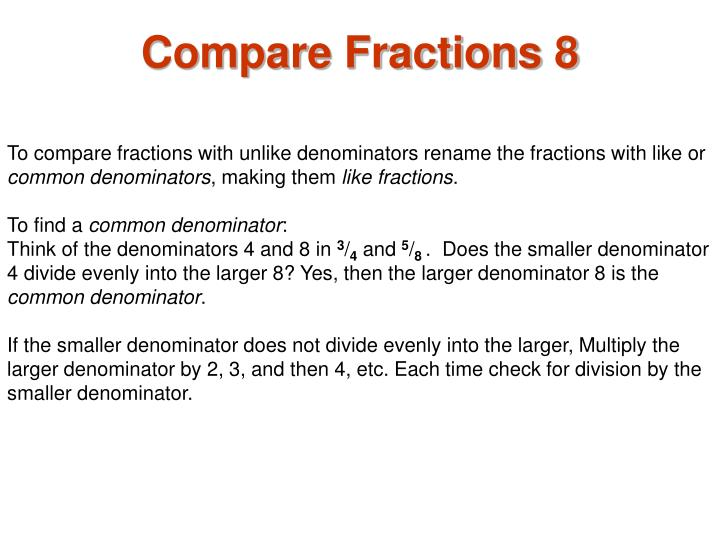 Compare Fractions 8