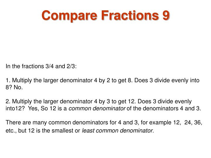 Compare Fractions 9