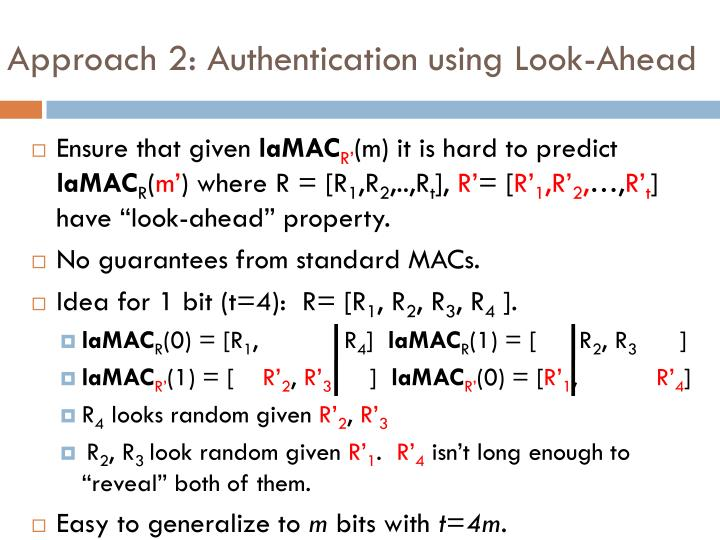 Approach 2: Authentication using Look-Ahead