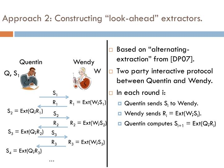 "Approach 2: Constructing ""look-ahead"" extractors."