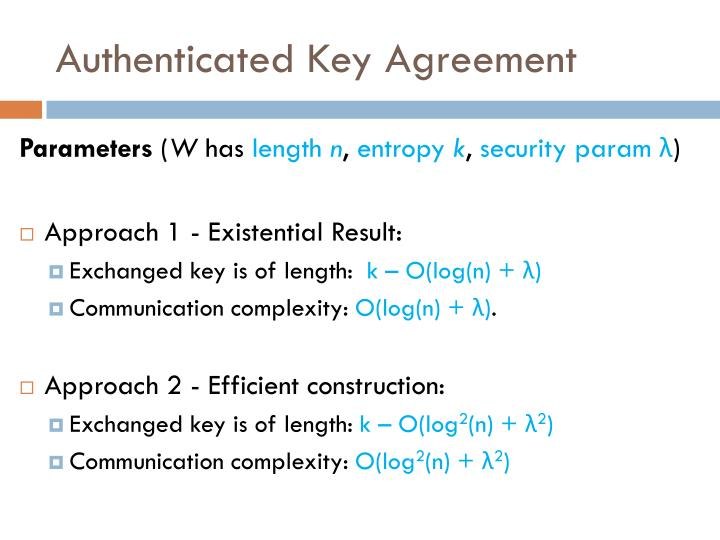 Authenticated Key Agreement