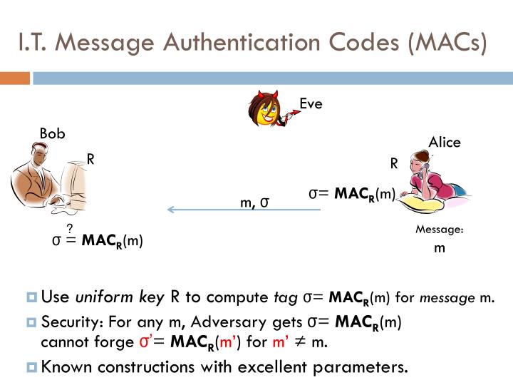 I.T. Message Authentication Codes (MACs)