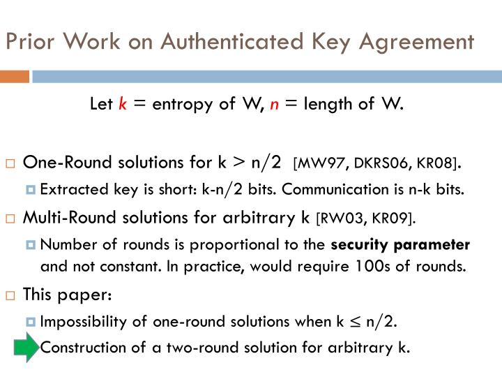 Prior Work on Authenticated Key Agreement