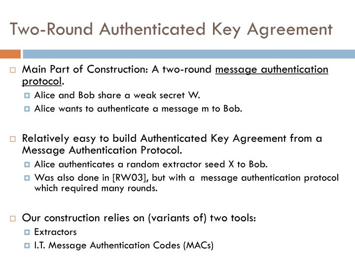 Two-Round Authenticated Key Agreement