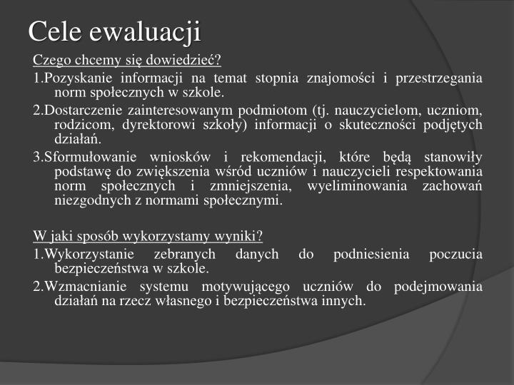 Cele ewaluacji