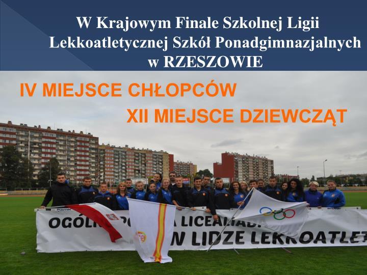 W Krajowym Finale Szkolnej Ligii Lekkoatletycznej Szkół Ponadgimnazjalnych w RZESZOWIE