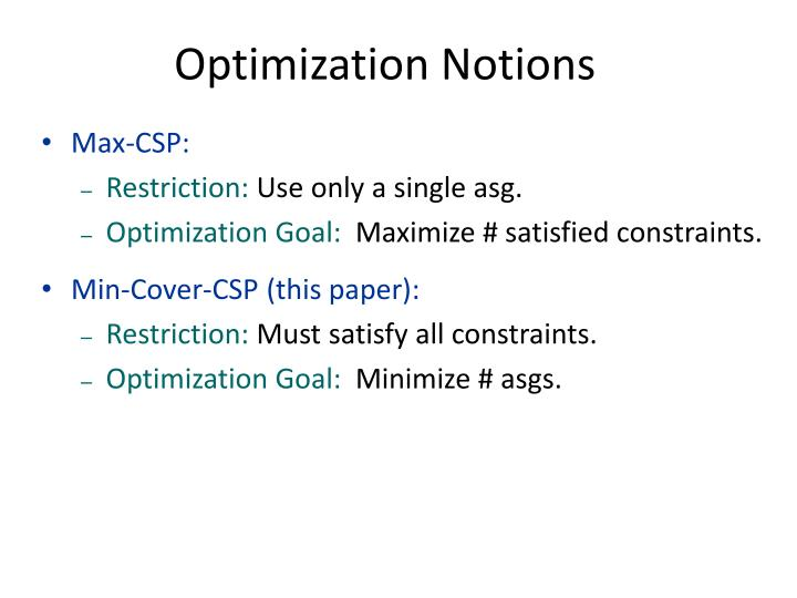 Optimization Notions