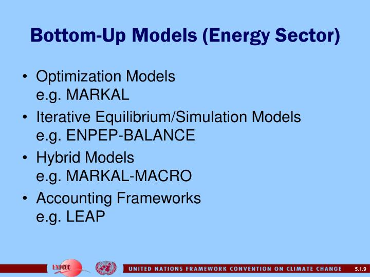 Bottom-Up Models (Energy Sector)