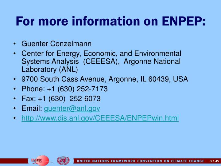 For more information on ENPEP: