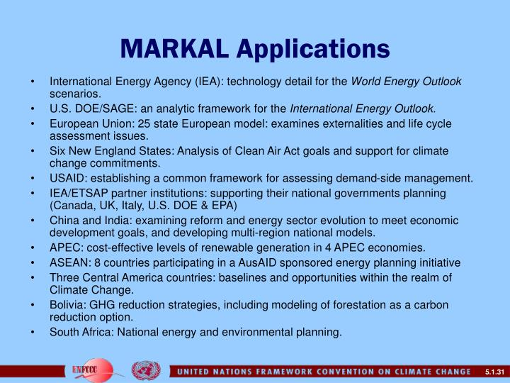 MARKAL Applications