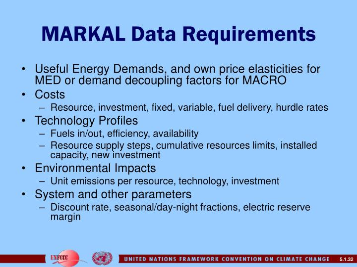 MARKAL Data Requirements