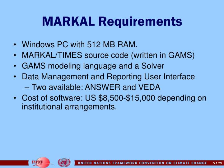 MARKAL Requirements
