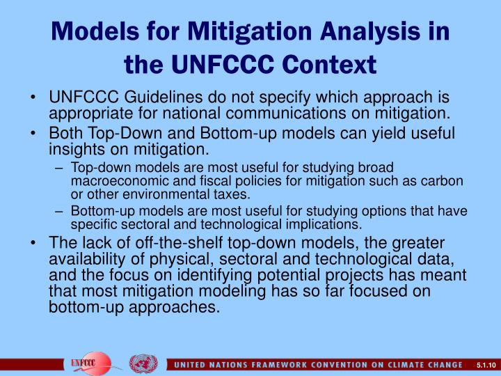 Models for Mitigation Analysis in the UNFCCC Context