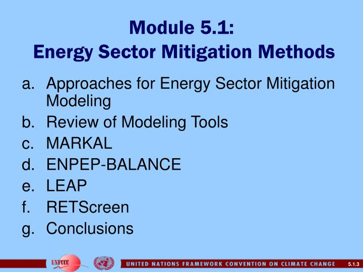 Module 5 1 energy sector mitigation methods