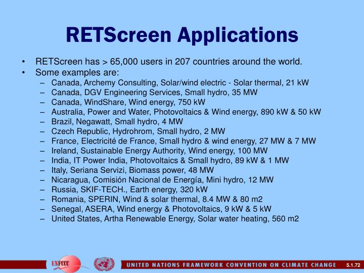 RETScreen Applications