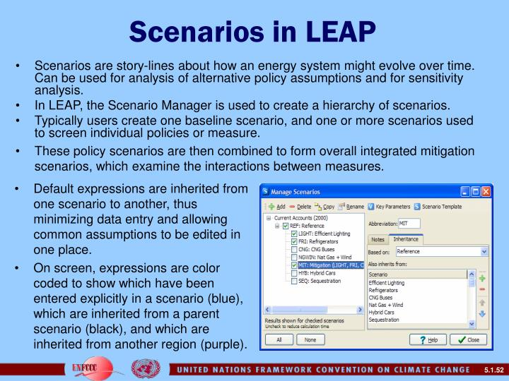 Scenarios in LEAP