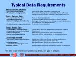 typical data requirements
