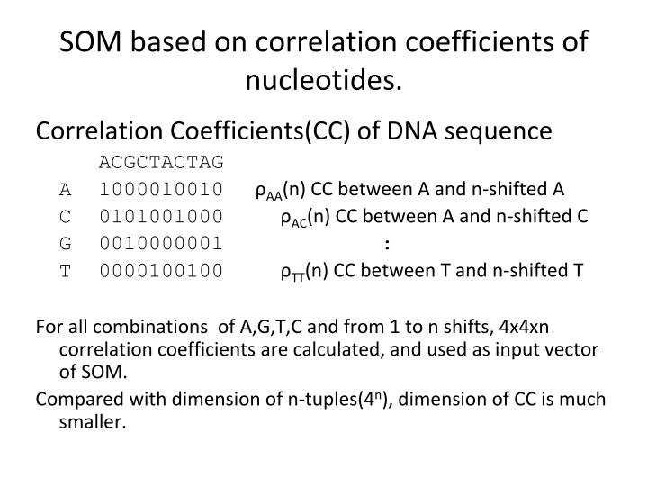 SOM based on correlation coefficients of nucleotides.
