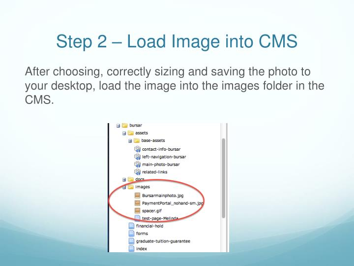 Step 2 – Load Image into CMS