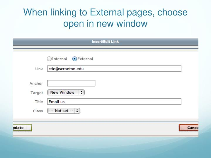 When linking to External pages, choose open in new window