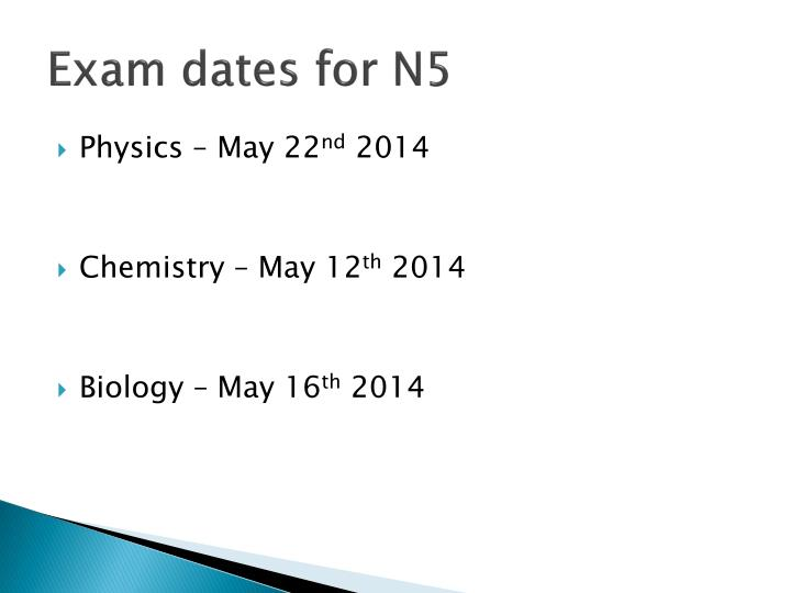 Exam dates for N5