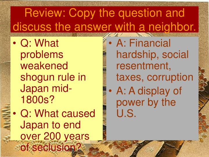 Q: What problems weakened shogun rule in Japan mid-1800s?