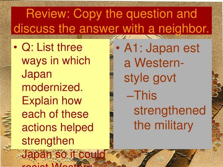 A1: Japan est a Western-style govt