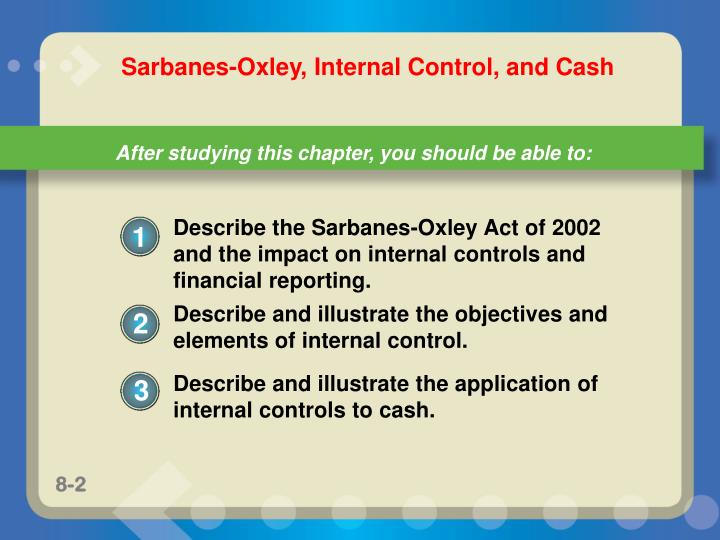 Describe the Sarbanes-Oxley Act of 2002 and the impact on internal controls and financial reporting.