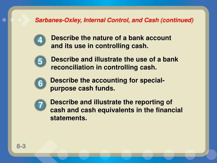 Describe and illustrate the use of a bank reconciliation in controlling cash.