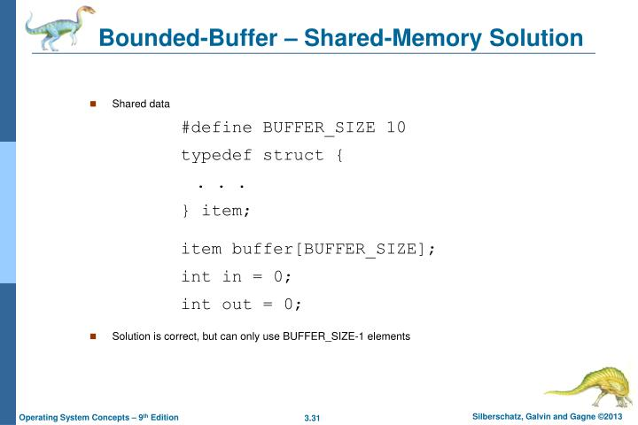 Bounded-Buffer – Shared-Memory Solution