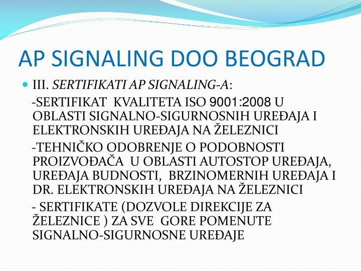 AP SIGNALING DOO BEOGRAD