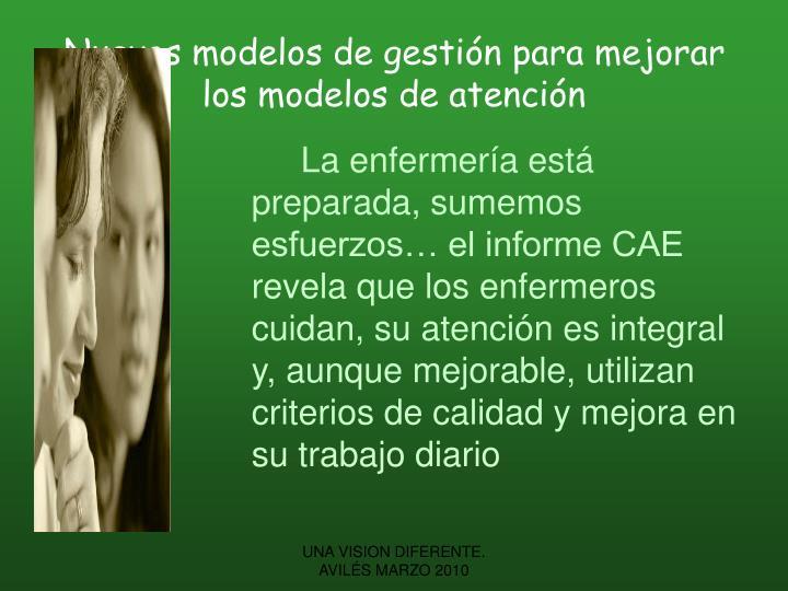 Nuevos modelos de gestión para mejorar los modelos de atención