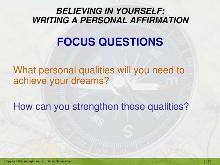 BELIEVING IN YOURSELF: