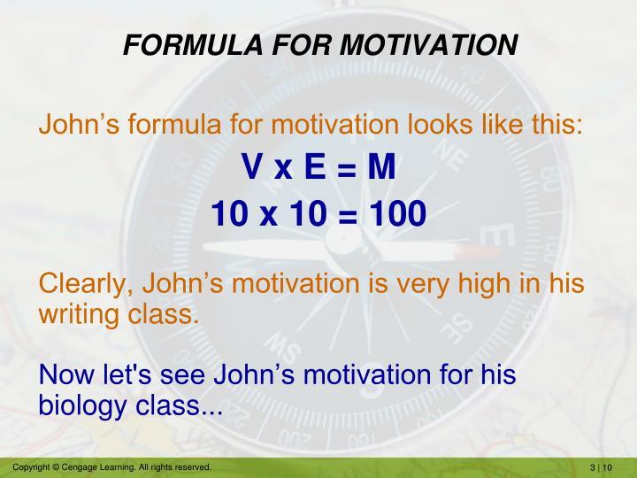 FORMULA FOR MOTIVATION