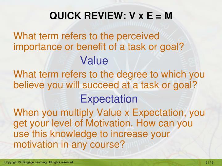 QUICK REVIEW: V x E = M